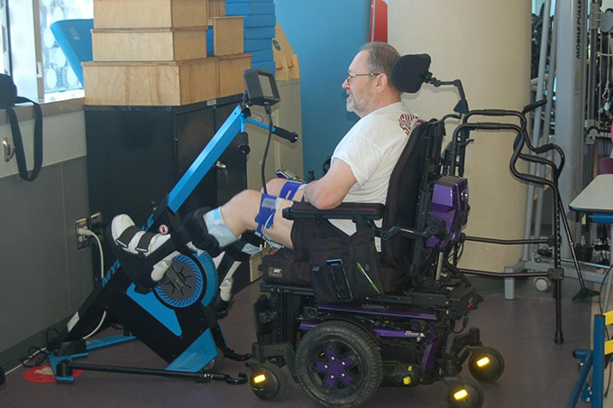 A participant using the MyoCycle