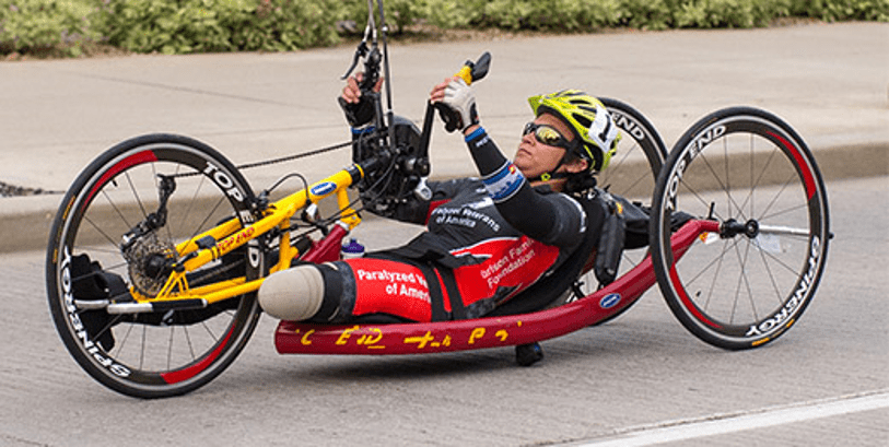 Man exercising though handcycling